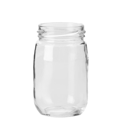 Empty glass jar. Isolated on a white background.