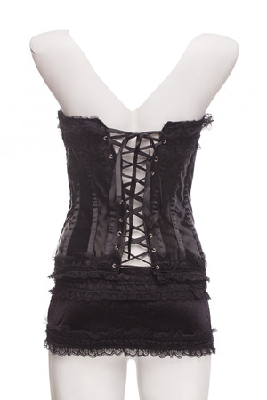 closeup of a beautiful dark corset isolated photo