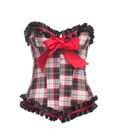 dominatrix: closeup of a beautiful dark corset isolated