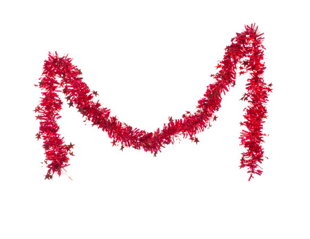 tinsel: Christmas red tinsel with stars. Isolated on a white background.