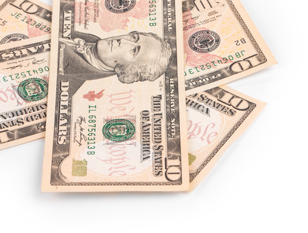 ben franklin money: Sequence of dollar banknotes. Located on the white background.