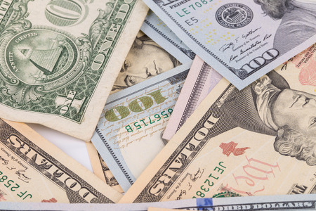 ben franklin money: Sequence of dollar banknotes. Located on the whole background.