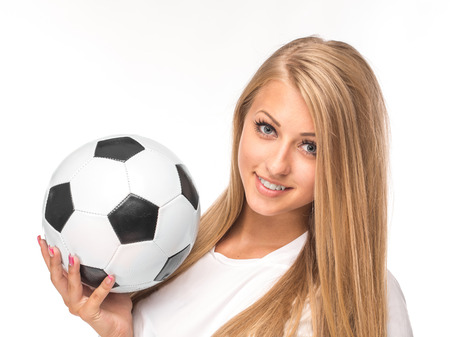 gaiters: Female model. Soccer. Isolated on the white background.