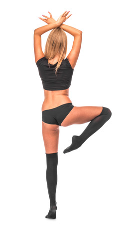 gaiters: Female model. Gymnast. Isolated on the white background.