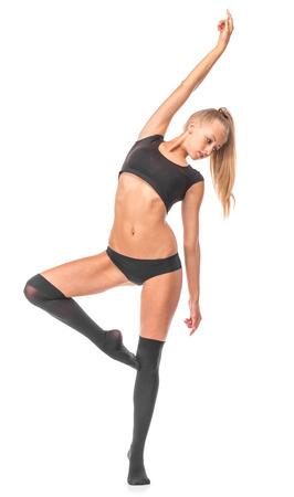 gaiters: Female model. Gymnast. Isolated on the white background.