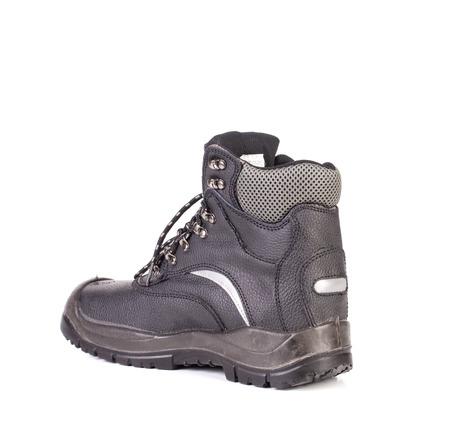 inset: Black mans boot with grey inset. Isolated on a white background.