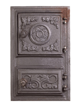 firebox: Cast iron door for furnaces. Isolated on the white background. Stock Photo