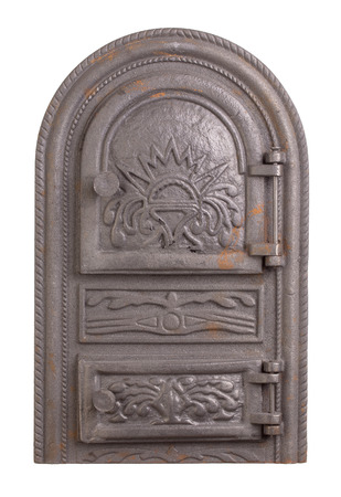 fasade: Cast iron door for furnaces. Isolated on the white background. Stock Photo