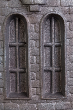 firebox: Cast iron door for furnaces. Fragment. Close up. Stock Photo