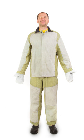 workwear: Welder in workwear suit Isolated on a white background.