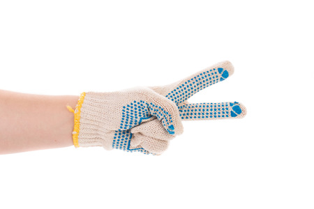 sanitize: Protective glove with blue circles. Isolated on a white background.