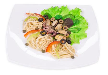 haute cuisine: Tasty italian pasta with seafood. Haute cuisine.