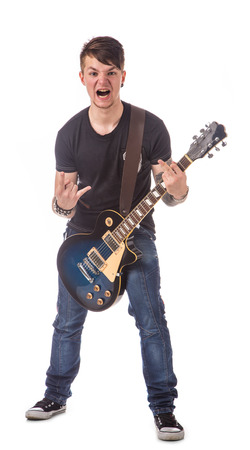 lead guitar: Lead guitarist. Isolated on the white background.