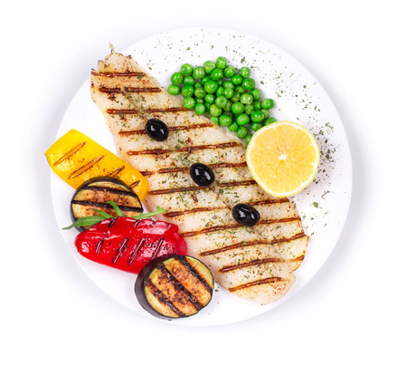 pangasius: Grilled fish fillet with vegetables.