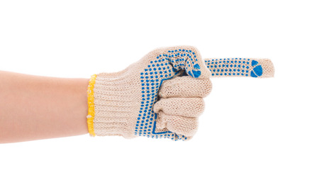 five fingers: Thin work glove shows five fingers. Isolated on a white .