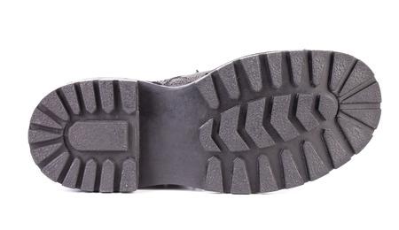 Schwarz Schuhsohle. Isoliert auf einem weißen.