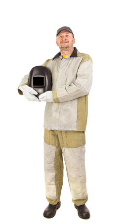 workwear: Welder in workwear suit isolated on a white background closeup
