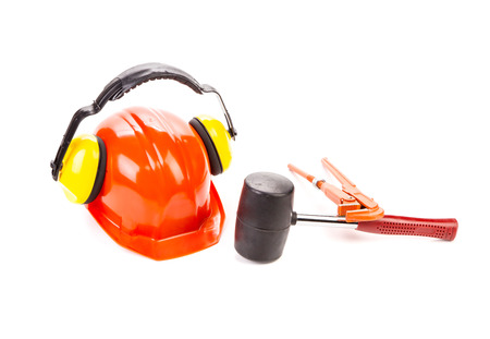 Construction tools close up. Isolated on a white background. photo