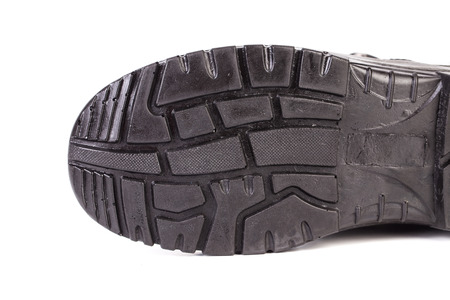rubber sole: Sole side of rubber boot. Isolated on a white background. Stock Photo