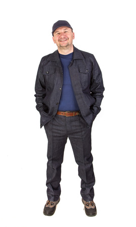 hand in pockets: Worker with hand in pockets. Isolated on a white background.