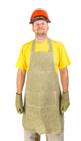 man front view: Apron man front view. Isolated on a white background.