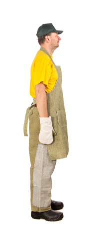 man side view: Apron man side view. Isolated on a white background.