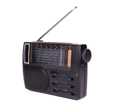 retro radio: Retro radio. Isolated on a white background. Stock Photo