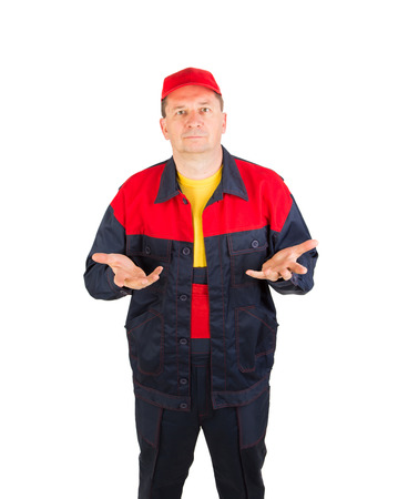 workwear: Worker in workwear and red cap. Isolated on a white background.