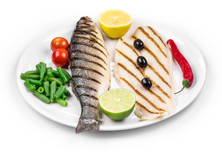 pangasius: Close up of pangasius and sea bass. Isolated on a white background. Stock Photo