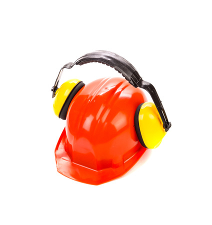 ear muffs: Hard hat with ear muffs. Isolated on a white background.