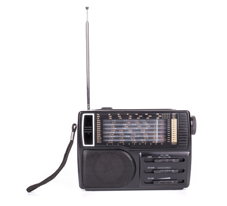 outmoded: Retro radio. Isolated on a white background. Stock Photo
