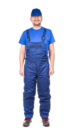 overall: Man in overall. Isolated on a white background.