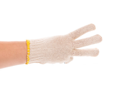 three fingers: Thin work gloves showing three fingers. Isolated on a white background.