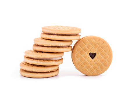 bisquit: Stack of cookie biscuits with filling. Isolated on a white background.