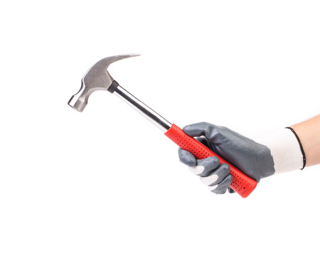 hand tool: Hand holding hammer. Located on a white background.