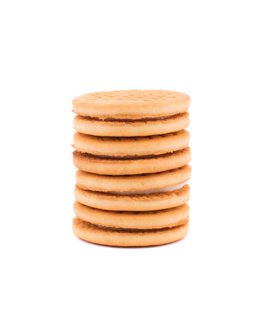 bisquit: Closeup cookie biscuits with filling isolated on a white
