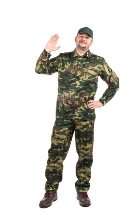 vest in isolated: Man in military vest. Isolated on a white background. Stock Photo