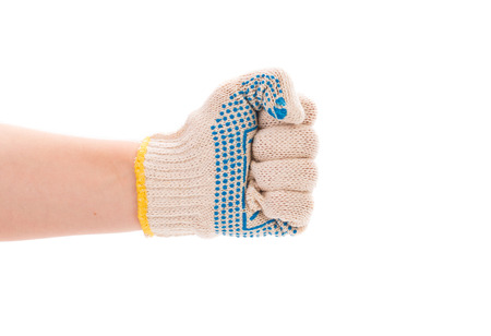 clench: Worker hand glove clenching fist. Isolated on a white background.