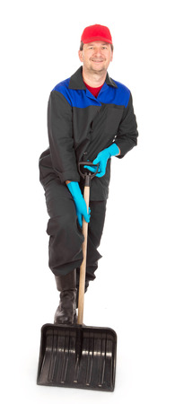 scour: Worker holding black shovel. Isolated on a white backgropund.