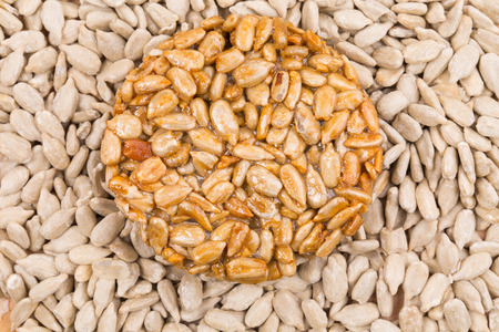 semen: Bunch of pelled sunflower seeds. Isolated on a white background.