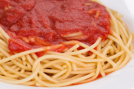 tomato catsup: Macro image of ketchup and pasta. Whole background. Stock Photo