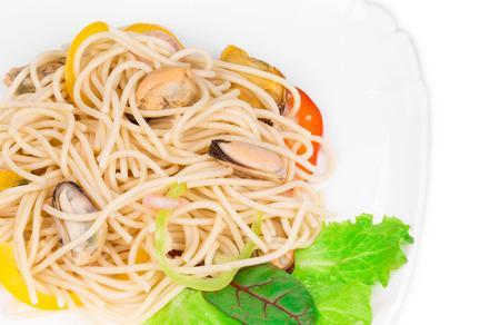 haute cuisine: Italian pasta with seafood as haute cuisine. Whole background. Stock Photo