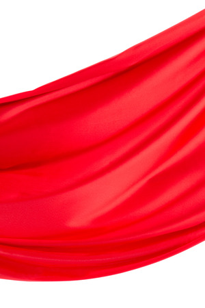 satiny: Red silk drapery on the white background.