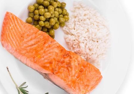 haute cuisine: Roasted salmon fillets with rice as haute cuisine Stock Photo