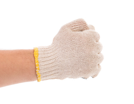 Worker hand glove clenching fist. Isolated on a white background.