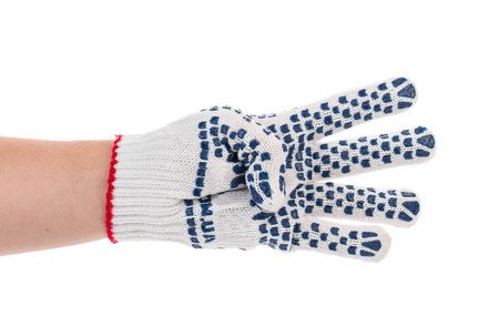 sanitizing: Protective glove with blue circles. Isolated on a white background.
