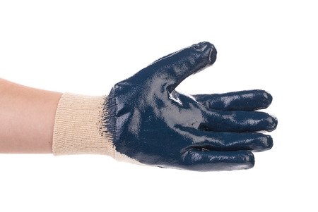 work glove: Blue rubber work glove. Isolated on a white background.