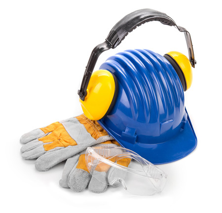 muff: Safety helmet, ear muff, safety glasses and gloves. Isolated on a white background. Stock Photo
