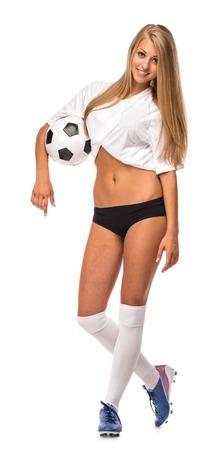 female soccer: Female Soccer model isolated on the white background. Stock Photo