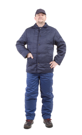 workwear: Worker in winter workwear. Isolated on a white background.